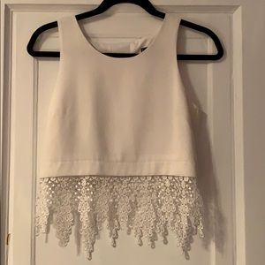 White top with lace detail